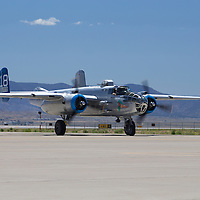 A B-25 makes it way back to parking after flying during the 2016 Kirtland Air Show