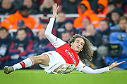 Arsenal midfielder Mattéo Guendouzi (29) raises his hands towards the referee after a clash with Eintracht Frankfurt midfielder Daichi Kamada (15) (not in picture) during the Europa League match between Arsenal and Eintracht Frankfurt at the Emirates Stadium, London, England on 28 November 2019.