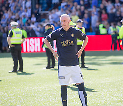 Falkirk's Craig Sibbald. Players and fans at the end of the game. Kilmarnock 4 v 0 Falkirk, second leg of the Scottish Premiership play-off final.