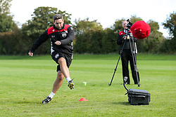 Bristol City manager Lee Johnson in action as Bristol City play Football Darts from Bristol Bubble Ball Ltd after training - Rogan Thomson/JMP - 30/09/2016 - FOOTBALL - Failand Training Ground - Bristol, England.