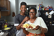 Photo by Mara Lavitt<br /> New Haven, CT<br /> April 22, 2017<br /> Kim Hart at home in New Haven cooked breakfast her son Arthur Brown.