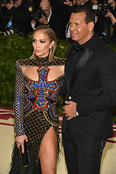 Jennifer Lopez and Alex Rodriguez attend the Costume Institute Benefit at The Metropolitan Museum of Art celebrating the opening of Heavenly Bodies: Fashion and the Catholic Imagination. The Metropolitan Museum of Art, New York City, New York, May 7, 2018. Photo by Lionel Hahn/ABACAPRESS.COM
