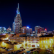 Downtown Nashville and the Cumberland Riverfront are seen from the John Seigenthaler pedestrian bridge.