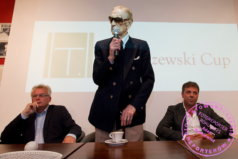 (C) Bohdan Tomaszewski and (L) Jerzy Hertel and (R) Krzysztof Suski - president of Polish Tennis Association during opening ceremony before tennis tournament Tomaszewski Cup 2013 at Legia's courts in Warsaw.<br /> <br /> Poland, Warsaw, September 02, 2013<br /> <br /> Picture also available in RAW (NEF) or TIFF format on special request.<br /> <br /> For editorial use only. Any commercial or promotional use requires permission.<br /> <br /> Photo by © Adam Nurkiewicz / Mediasport