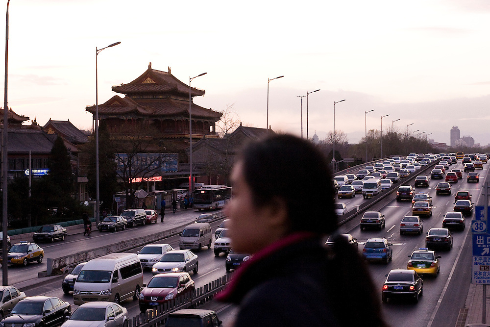 Near the Lamas Temple, a daily traffic jam on the second ring road north of Beijing, in the direction of the highway to Inner-mongolia.