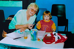 Jemma aged three with her grandmother sylvia. Jemma Llewellyn, 22, who has waived her right to anonymity, has been successful in the prosecution of her uncle Richard Wallace 36 after he sexually assaulted her while she was seven months pregnant, asleep on her mother's sofa. Southend-On-Sea, March 29 2019.