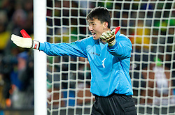 Goalkeeper of Korea Ri Myong Guk during the 2010 FIFA World Cup South Africa Group G match between Brazil and North Korea at Ellis Park Stadium on June 15, 2010 in Johannesburg, South Africa. Brazil defeated Korea 2-1. (Photo by Vid Ponikvar / Sportida)