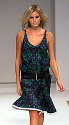 Nicole Farhi collection at London Fashion Week Spring Summer 2001. .Model on the catwalk wears printed dress. 26/9/2000.Photo by Andrew Parsons/i-Images.All Rights Reserved ©Andrew Parsons/i-images.See Instructions.