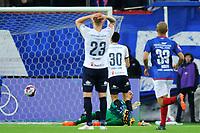 Fotball , Eliteserien , Eliteserien 2018<br /> 07.04.2018 , 20180407<br /> Vålerenga - Strømsgodset<br /> Mustafa Abdellaoue med en sjanse sent i kampen, som ble avblåst for offside. I forgrunnen er Eirik Ulland Andersen, som spilte Mos igjennom. Vålerengas keeper er Adam Larsen Kwarasey<br /> Foto: Sjur Stølen / Digitalsport