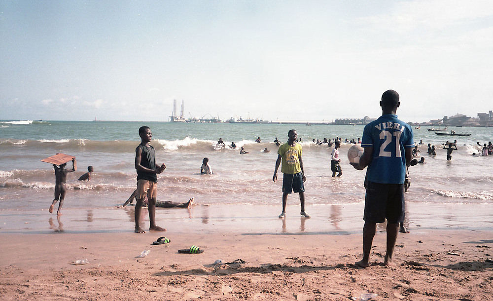 Kids playing soccer at a beach in New Takoradi, Ghana 2011