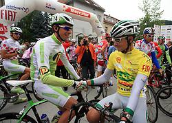 Radoslav Rogina of Croatia (Perutnina Ptuj) congratulates to Jure Golcer of Slovenia (LPR Brakes) just before the start in last 4th stage of the 15th Tour de Slovenie from Celje to Novo mesto (157 km), on June 14,2008, Slovenia. (Photo by Vid Ponikvar / Sportal Images)/ Sportida)