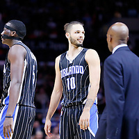 03 December 2014: Orlando Magic guard Evan Fournier (10) is seen next to Orlando Magic guard Victor Oladipo (5) and Orlando Magic head coach Jacque Vaughn during the Los Angeles Clippers 114-86 victory over the Orlando Magic, at the Staples Center, Los Angeles, California, USA.