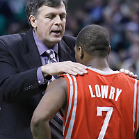 06 March 2012: Houston Rockets head coach Kevin McHale talks to Houston Rockets point guard Kyle Lowry (7) during the Boston Celtics 97-92 (OT) victory over the Houston Rockets at the TD Garden, Boston, Massachusetts, USA.