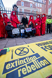 © Licensed to London News Pictures. 09/12/2019. London, UK. Lily Cole actress and model joins the Extinction Rebellion Hunger strike outside Conservative party HQ in Westminster as XR continue their Twelve Days of Crisis a nonviolent direct action climate change protest from 30 November until the eve of the Election Day on 12th December .Photo credit: Alex Lentati/LNP