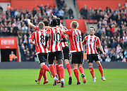 Southamptons Jose Fonte opens the scoring during the Barclays Premier League match between Southampton and Leicester City at the St Mary's Stadium, Southampton, England on 17 October 2015. Photo by Adam Rivers.
