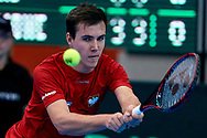 Sopot, Poland - 2018 April 08: Rookie Daniel Michalski from Poland plays while Men's Single Match Nr 5 during Poland v Zimbabwe Tie Group 2, Europe/Africa Second Round of Davis Cup by BNP Paribas at 100 years of Sopot Hall on April 08, 2018 in Sopot, Poland.<br /> <br /> Mandatory credit:<br /> Photo by © Adam Nurkiewicz / Mediasport<br /> <br /> Adam Nurkiewicz declares that he has no rights to the image of people at the photographs of his authorship.<br /> <br /> Picture also available in RAW (NEF) or TIFF format on special request.<br /> <br /> Any editorial, commercial or promotional use requires written permission from the author of image.Jaen Patrick Reydellet from France and (C) Yan Kuszak ITF Referee from France and (R) Kamil Ancygier PZT Referee from Poland