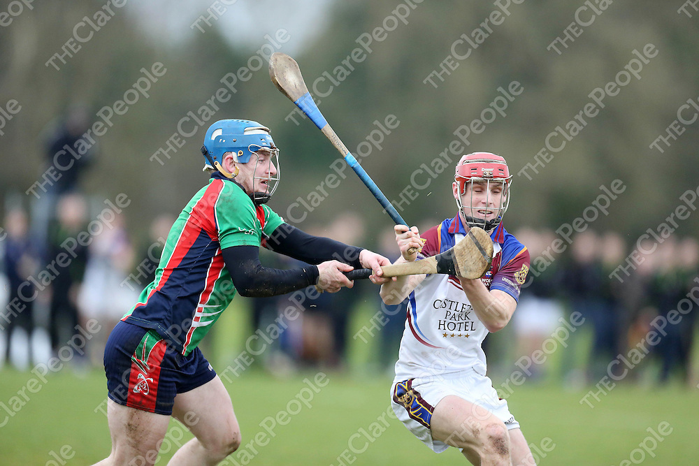 LITs Martin Minehan closes down on ULs Tommy Heffernan in their meeting in the Quarter Final of the Fitzgibbon Cup played in the University of Limerick on Wednesday.<br /> Pic. Brian Arthur/ Press 22.