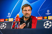 Liverpool manager Jurgen Klopp during the Champions League  quarter-final leg 2 of 2 press conference for Liverpool at Estadio do Dragao, Porto, Portugal on 16 April 2019.