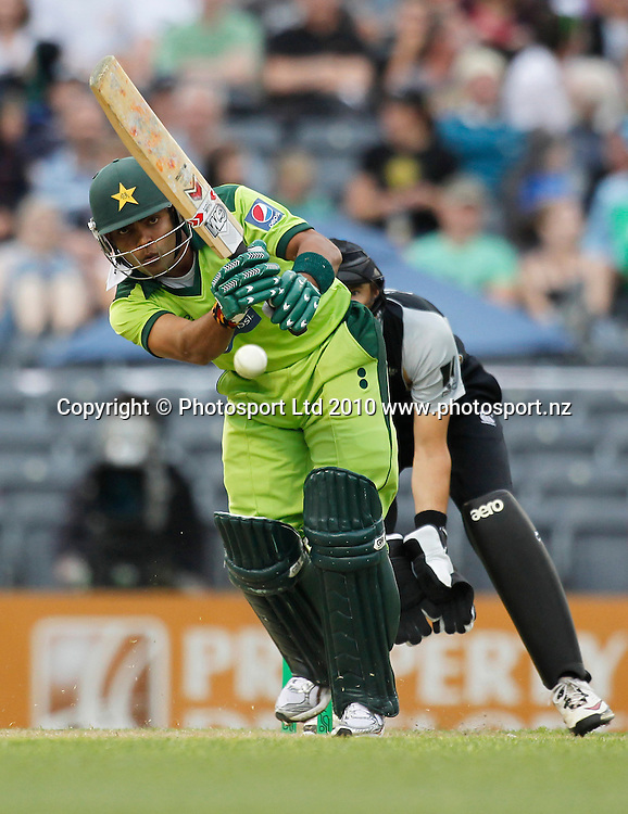Pakistan batsman Umar Akmal plays a shot. New Zealand Black Caps v Pakistan, Match 3. Twenty 20 Cricket match at AMI Stadium, Christchurch, New Zealand. Thursday 30 December 2010. Photo: Simon Watts/photosport.co.nz