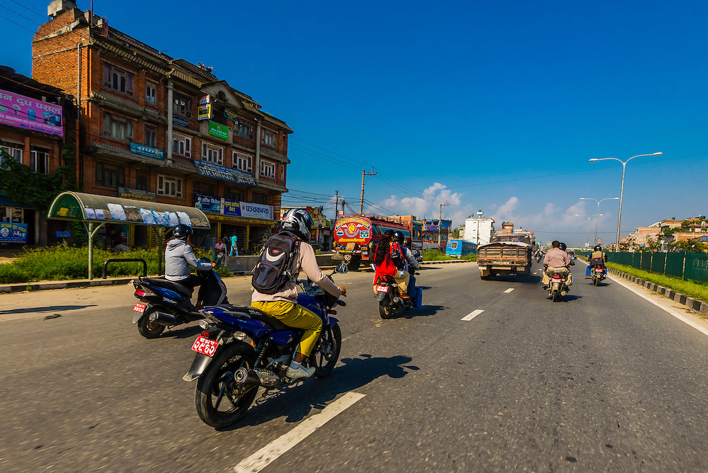 Highway traffic in the Kathmandu Valley, Nepal.