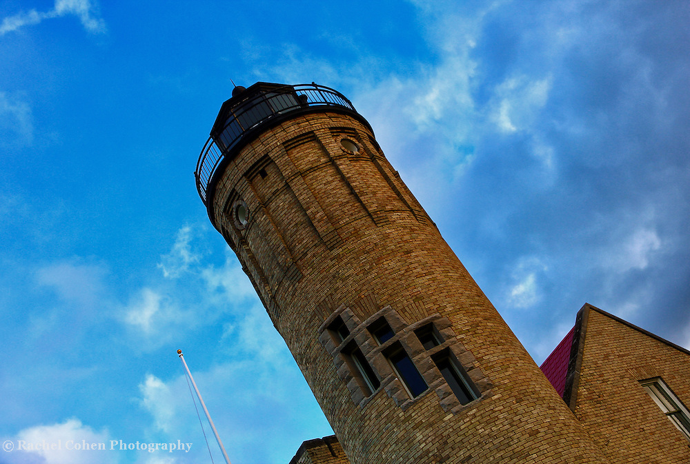 &quot;The Tilting Point&quot;<br /> <br /> The beautiful tower section of the Old Mackinac Point Lighthouse in Mackinaw City Michigan.<br /> <br /> Lighthouses of the Great lakes by Rachel Cohen