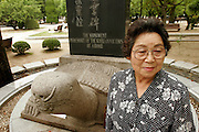 Ms Park Nam Joo. Korean Hiroshima A-Bomb survivor. At the Peace Memorial Park, In front of the monument for Korean victims of the A-Bomb on Hiroshima.