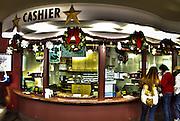 Colorful Cashier at Parking Garage during the Holiday Shopping Season