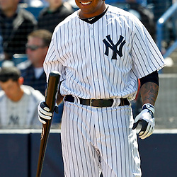 March 4, 2012; Tampa Bay, FL, USA; New York Yankees left fielder Andruw Jones (22) during spring training game against the Philadelphia Phillies at George M. Steinbrenner Field. Mandatory Credit: Derick E. Hingle-US PRESSWIRE