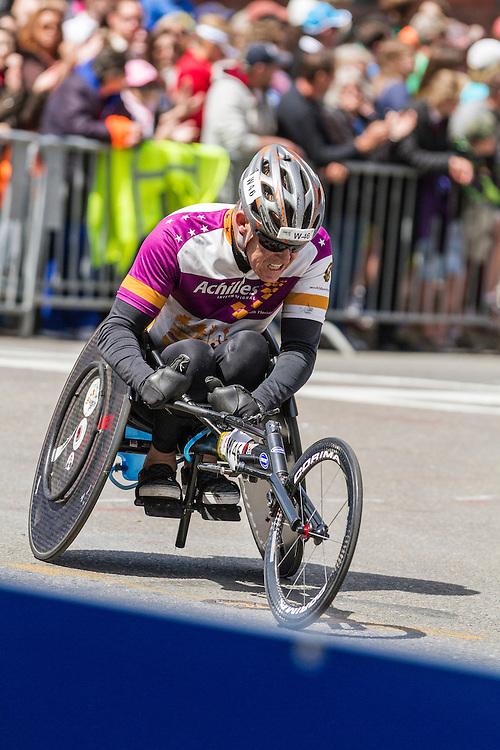 2014 Boston Marathon: turn onto Boylston Street with quarter mile to go, mobility impaired competitor