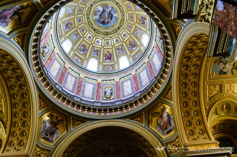 Budapest, Hungary.  St Stephen's Basilica. The central dome from inside the church.