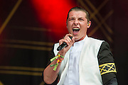 John Newman plays the Other Stage.  The 2014 Glastonbury Festival, Worthy Farm, Glastonbury. 27 June 2013.  Guy Bell, 07771 786236, guy@gbphotos.com