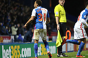 Elliot Bennet celebrates during the Sky Bet Championship match between Blackburn Rovers and Queens Park Rangers at Ewood Park, Blackburn, England on 12 January 2016. Photo by Pete Burns.