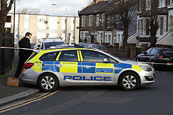© Licensed to London News Pictures. 07/03/2019. London, UK. Police at the crime scene in North Birkbeck Road in Leyton in east London where a murder investigation has been launched after a man in his twenties was stabbed on Wednesday. Photo credit: Peter Macdiarmid/LNP