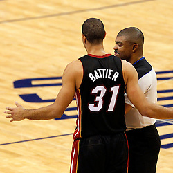 Jun 14, 2012; Oklahoma City, OK, USA;  Miami Heat small forward Shane Battier (31) talks to an official during the second quarter of game two in the 2012 NBA Finals against the Oklahoma City Thunder at Chesapeake Energy Arena. Mandatory Credit: Derick E. Hingle-US PRESSWIRE