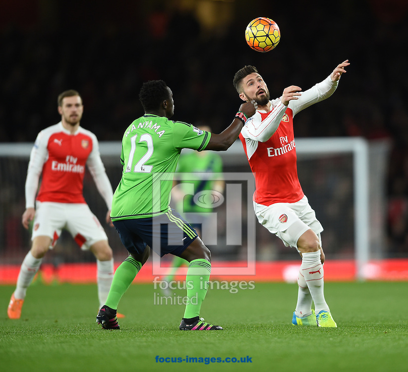 Southampton's Victor Wanyama (left)  and Arsenal's Olivier Giroud during the Barclays Premier League match at the Emirates Stadium, London<br /> Picture by Daniel Hambury/Focus Images Ltd +44 7813 022858<br /> 02/02/2016
