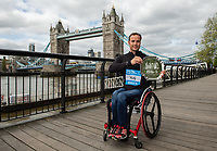 Marcel Hug SUI winner of the Abbott World Marathon Majors Series XI at a photocall and press conference at the Guoman Tower Hotel for the winners of the Virgin Money London Marathon, 23 April 2018.<br /> <br /> Photo: Thomas Lovelock for Virgin Money London Marathon<br /> <br /> For further information: media@londonmarathonevents.co.uk