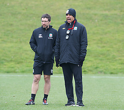 CARDIFF, WALES - Sunday, March 24, 2013: Wales' manager Chris Coleman and head of fitness and science Ryland Morgans during a training session at the Vale of Glamorgan ahead of the 2014 FIFA World Cup Brazil Qualifying Group A match against Croatia. (Pic by David Rawcliffe/Propaganda)  CARDIFF, WALES - Sunday, March 24, 2013: Wales' xxxx during a training session at the Vale of Glamorgan ahead of the 2014 FIFA World Cup Brazil Qualifying Group A match against Croatia. (Pic by David Rawcliffe/Propaganda)