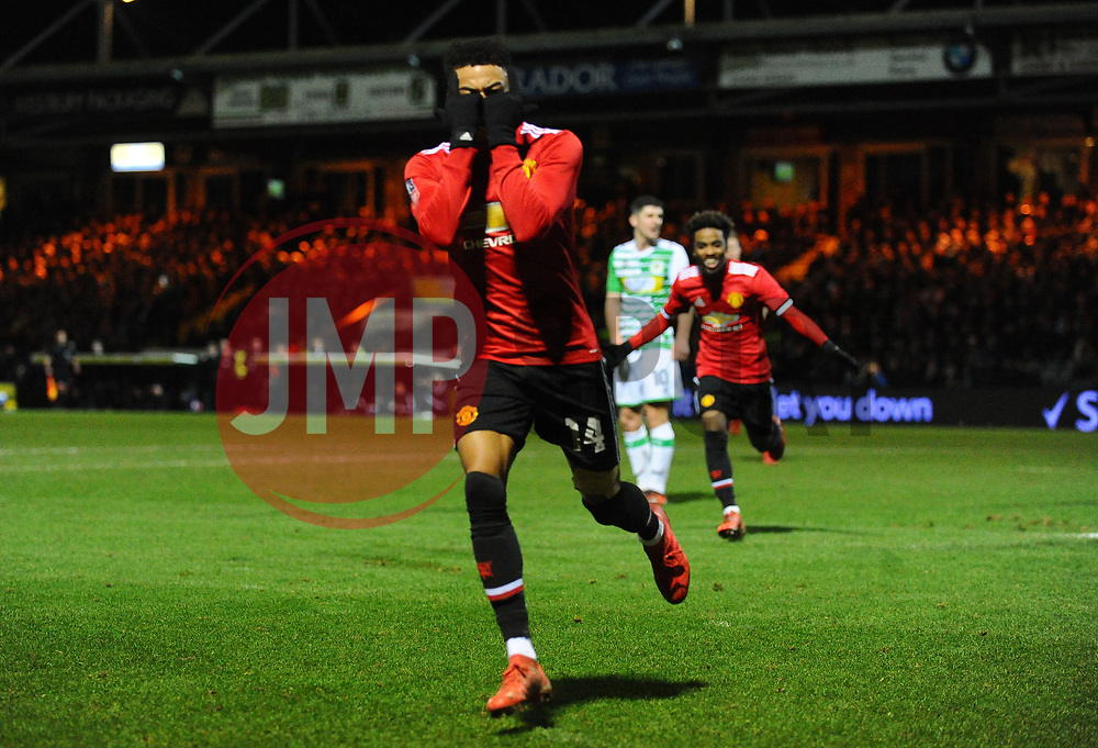 Jesse Lingard of Manchester United celebrates after scoring his sides third goal - Mandatory by-line: Alex Davidson/JMP - 26/01/2018 - FOOTBALL - Huish Park - Yeovil, England -  v Manchester United - Emirates FA Cup fourth round proper