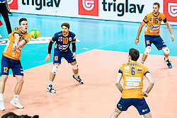 Okroglic Jure of ACH Volley and Dagostino Kyle Patric of ACH Volley during volleyball match between ACH Volley Ljubljana (SLO) and Kuzbas Kemerevo (RUS) n 2nd Round, group B of 2019 CEV Volleyball Champions League, on December 11, 2019 in Hala Tivoli, Ljubljana, Slovenia. Grega Valancic / Sportida