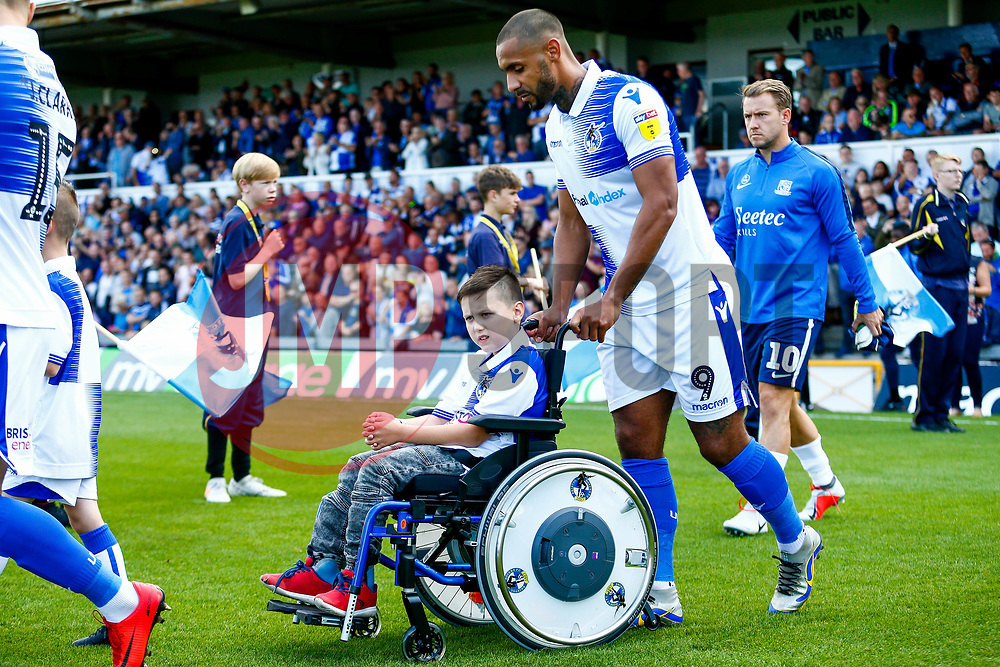 Child match mascots walk out with the team, pictured Stefan Payne of Bristol Rovers with mascot Jaye Cook - Mandatory by-line: Ryan Hiscott/JMP - 25/08/2018 - FOOTBALL - Memorial Stadium - Bristol, England - Bristol Rovers v Southend United - Sky Bet League One