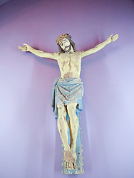 Carved wooden crucifixion at Museum of Art in Bucharest Romania