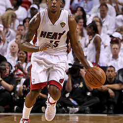 Jun 17, 2012; Miam, FL, USA; Miami Heat point guard Mario Chalmers (15) against the Oklahoma City Thunder during the third quarter in game three in the 2012 NBA Finals at the American Airlines Arena. Mandatory Credit: Derick E. Hingle-US PRESSWIRE