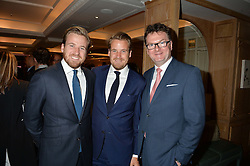 Left to right, HARRY LAWSON-JOHNSTON, EDWARD LAWSON-JOHNSTON and EWAN VENTERS at a the Fortnum's X Frank private view - an instore exhibition of over 60 works from Frank Cohen's collection at Fortnum & Mason, 181 Piccadilly, London on 12th September 2016.