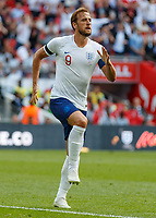 Football - 2018 International Friendly (pre-World Cup warm-up) - England vs. Nigeria<br /> <br /> Harry Kane (England) prepares to leap in celebration after scoring at Wembley Stadium.<br /> <br /> COLORSPORT/DANIEL BEARHAM