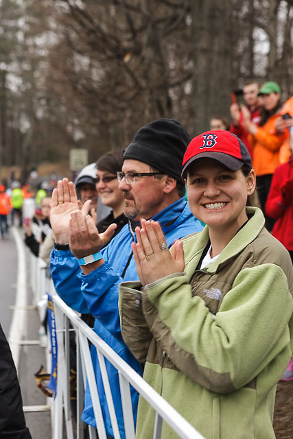 Boston fans line the course at start in Hopkinton