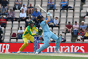 Jos Buttler hist a huge 6 over mid wicket during the ICC Cricket World Cup 2019 warm up match between England and Australia at the Ageas Bowl, Southampton, United Kingdom on 25 May 2019.