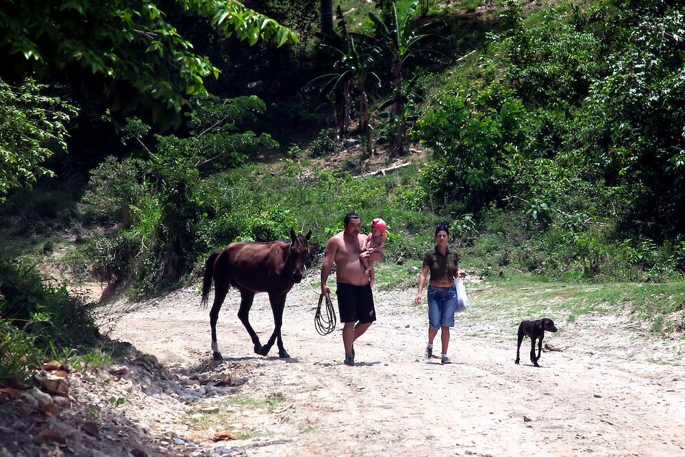 Horse and family near Niquero, Granma, Cuba.