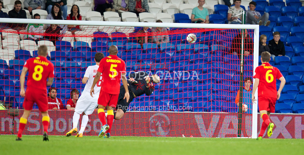 CARDIFF, WALES - Tuesday, September 10, 2013: Wales' goalkeeper Boaz Myhill is beaten for Serbia's second goal during the 2014 FIFA World Cup Brazil Qualifying Group A match at the Cardiff CIty Stadium. (Pic by David Rawcliffe/Propaganda)