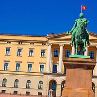 Alberto Carrera, Statue of King Karl Johan, Slottet Royal Palace, Oslo, Norway, Europe