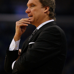 Mar 31, 2010; New Orleans, LA, USA; Washington Wizards head coach Flip Saunders watches his team during the first half against the New Orleans Hornets at the New Orleans Arena. Mandatory Credit: Derick E. Hingle-US PRESSWIRE